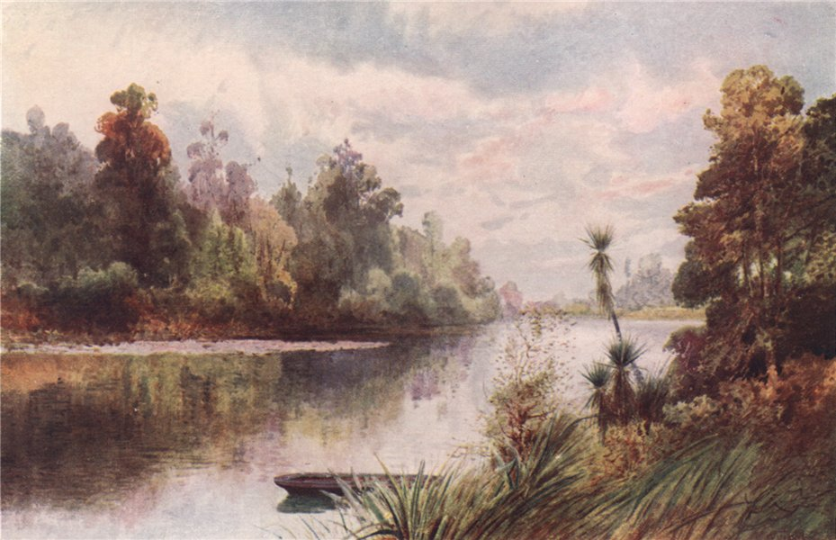 Associate Product MARLBOROUGH. 'On the Pelorus River' by Frank Wright. New Zealand 1908 print