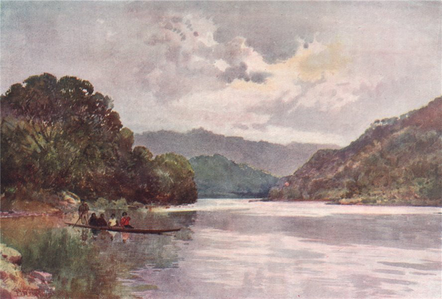 Associate Product WHANGANUI RIVER. Morning on the river by Frank Wright. New Zealand 1908 print