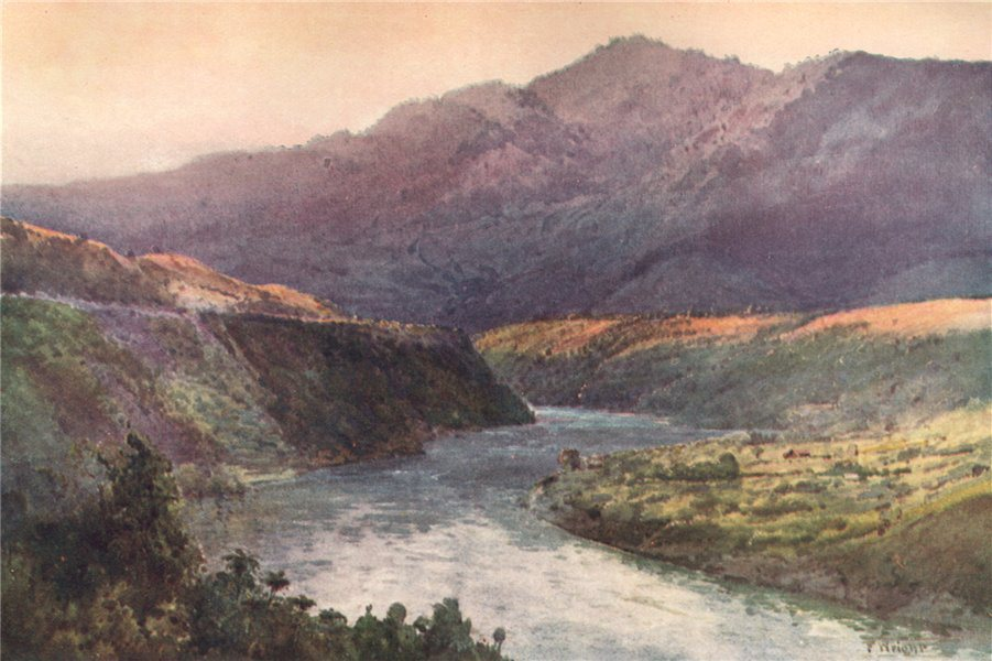Associate Product WHANGANUI. 'On the upper Wanganui' by Frank Wright. New Zealand 1908 old print