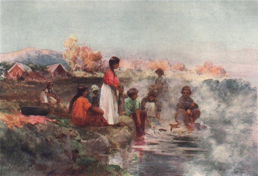 Associate Product OHINEMUTU. 'Maori washing day' by Walter Wright. New Zealand 1908 old print