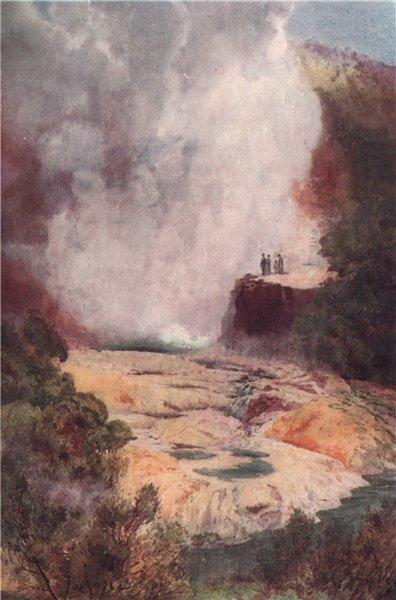 Associate Product ROTORUA. 'Champagne Cauldron' by Frank Wright. New Zealand 1908 old print