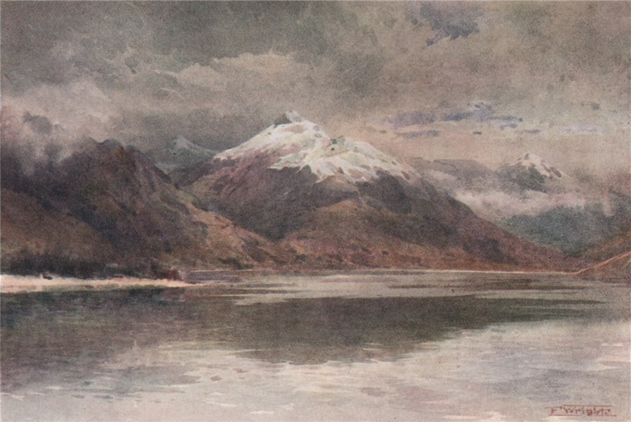 'The Cecil and Walter Peaks' by Frank Wright. New Zealand 1908 old print
