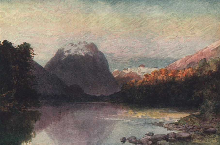Associate Product 'At the Head of Lake Te-Anau' by Frank Wright. New Zealand 1908 old print