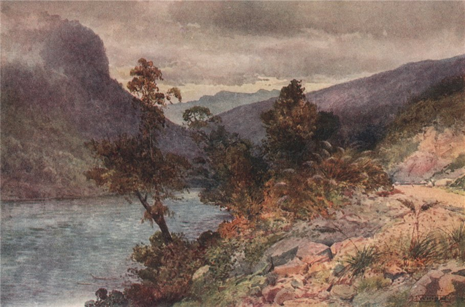 Associate Product 'The Buller River near Hawk's Craig' by Frank Wright. New Zealand 1908 print