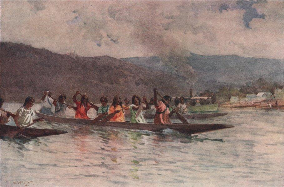 Associate Product 'Wahine's Canoe race on the Waikato' by Walter Wright. New Zealand 1908 print