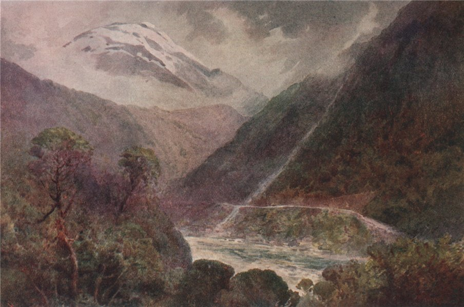 Associate Product 'The Otira Gorge' by Frank Wright. New Zealand 1908 old antique print picture