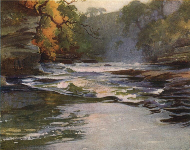 Associate Product FALLS OF CLYDE. 'The Brink of Corra Linn' by John & Mary Young-Hunter 1907