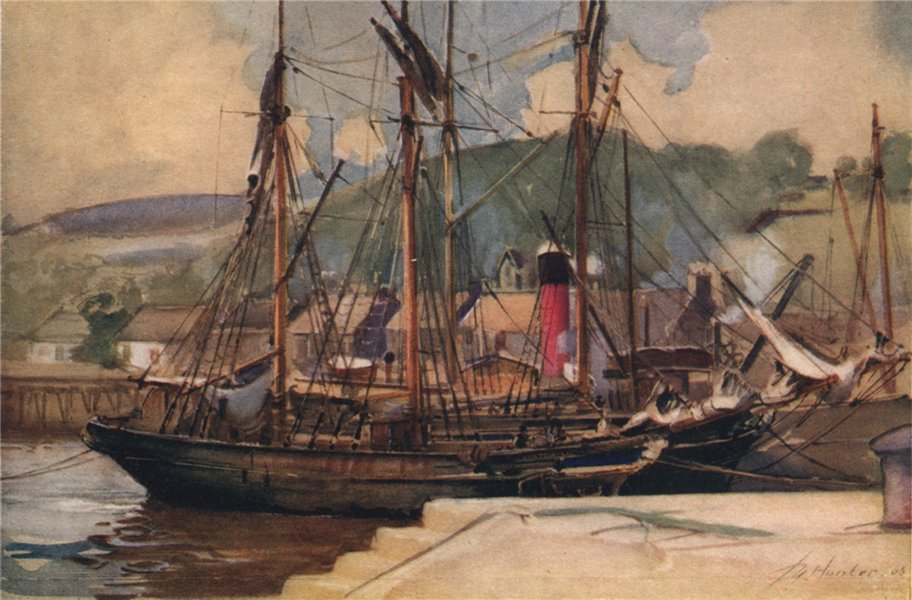 Associate Product DUNBARTONSHIRE. Bowling, Irish barques unloading. John Young-Hunter 1907 print