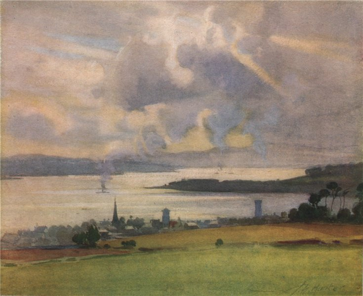 Associate Product 'Helensburgh, from the Golf Links' by John Young-Hunter. Scotland 1907 print