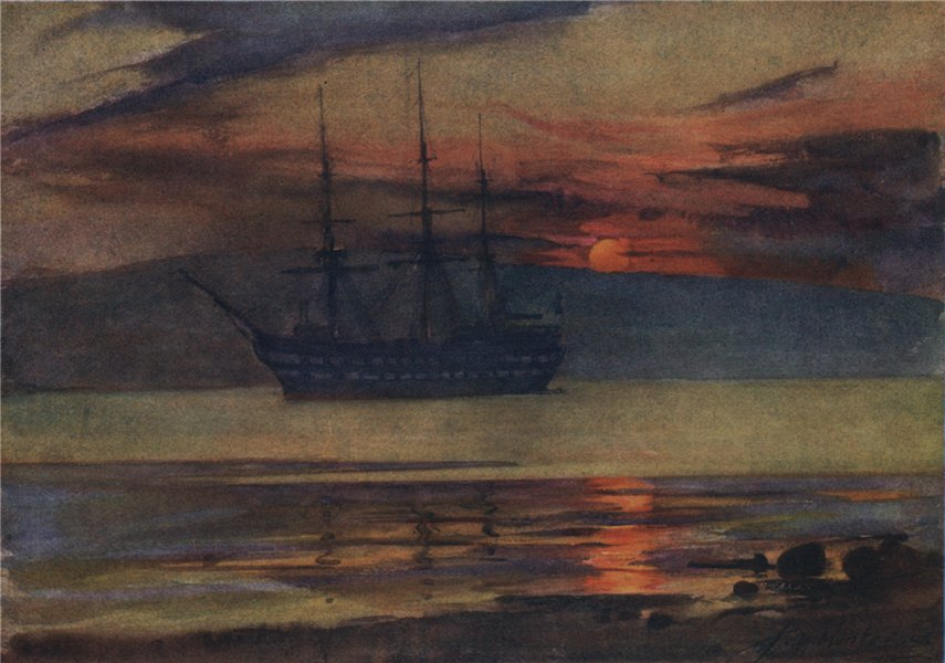 """Associate Product 'Last days of C.T.S. """"Cumberland,""""' by John Young-Hunter. Scotland 1907 print"""