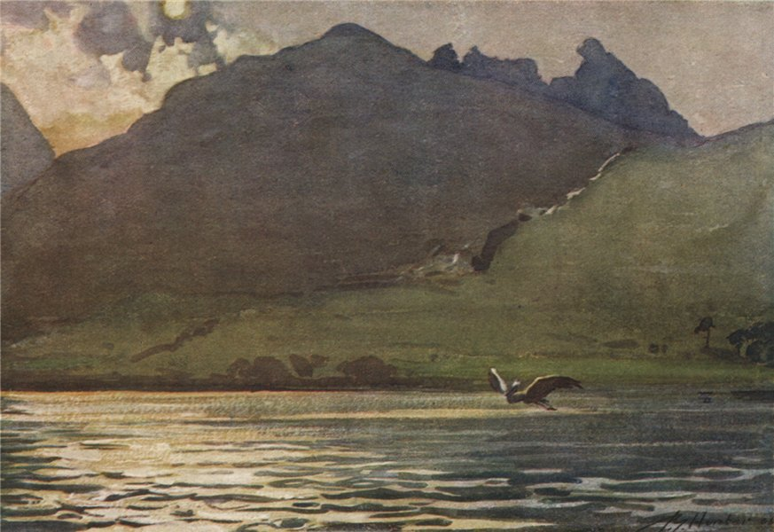 """Associate Product 'Loch Long and """"The Cobbler""""' by John Young-Hunter. Scotland 1907 old print"""