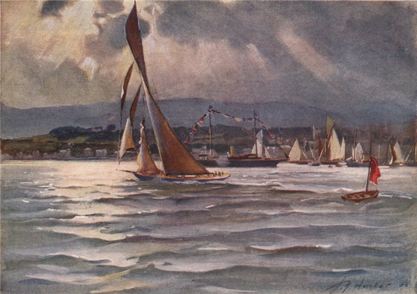 Royal Clyde Yacht Club Regatta, June 1906 by John Young-Hunter 1907 old print