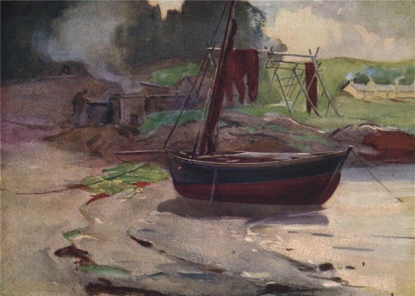 "Associate Product '""Barking"" herring nets, Carradale' by John Young-Hunter. Scotland 1907 print"