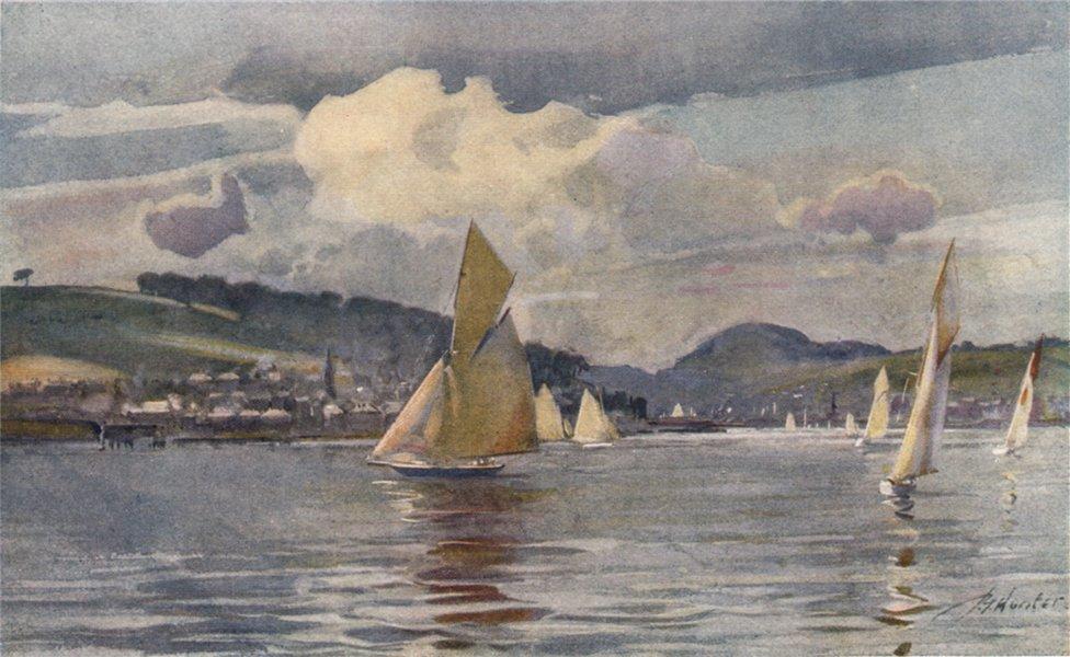 'Craigmore and Rothesay Bay' by John Young-Hunter. Scotland 1907 old print