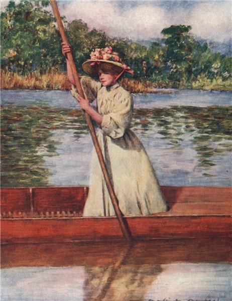 Associate Product 'Punting' by Mortimer Menpes. The Thames 1906 old antique print picture