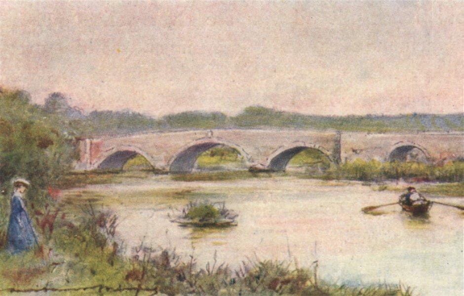 Associate Product Sutton Courtenay; Culham Bridge; by Mortimer Menpes. Oxfordshire 1906 print