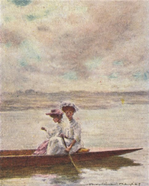 Associate Product 'Paddling' by Mortimer Menpes. Berkshire. SMALL 1906 old antique print picture
