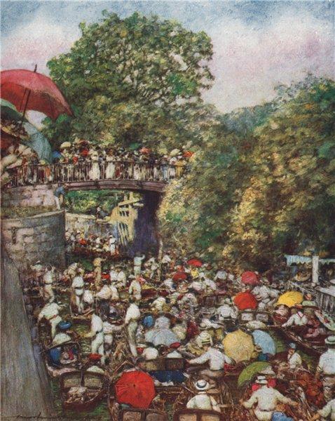 Associate Product 'Boulter's Lock, Ascot Sunday' by Mortimer Menpes. Berkshire 1906 old print