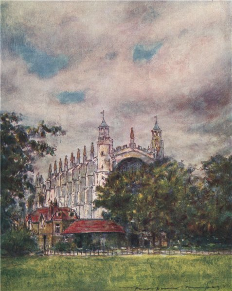 Associate Product 'Eton Chapel from the Fields' by Mortimer Menpes. Berkshire 1906 old print