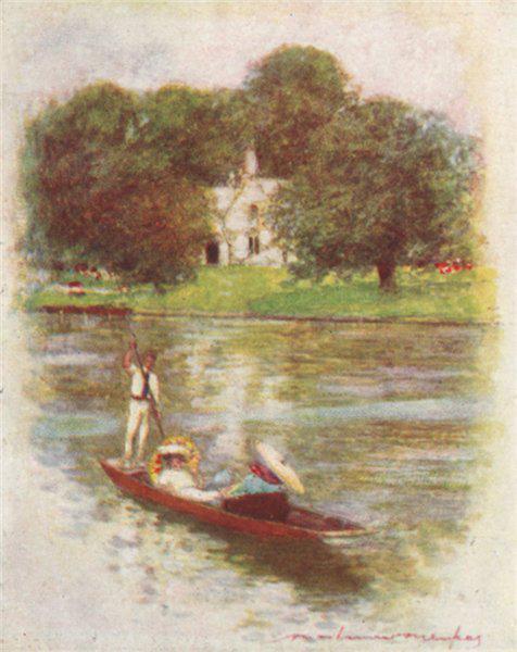 'Magna Charta Island' by Mortimer Menpes. Berkshire. SMALL 1906 old print