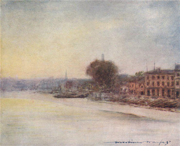Associate Product 'Beyond Hammersmith Bridge' by Mortimer Menpes. London 1906 old antique print