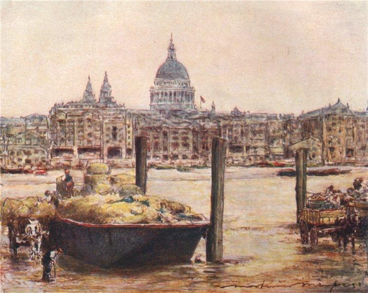 'St. Paul's' by Mortimer Menpes. London 1906 old antique vintage print picture