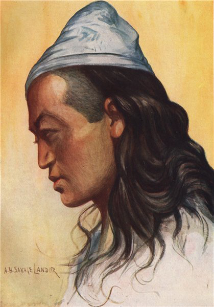 Associate Product 'A Nepalese Shoka' by Arnold Henry Savage Landor. Nepal 1905 antique print