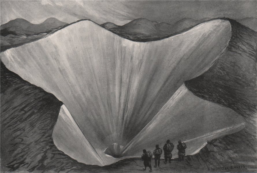 Associate Product 'Funnels in the moraine ice' by Arnold Henry Savage Landor. Nepal 1905 print