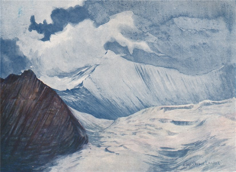 Associate Product Lumpa Peaks; part of the Charles Landor Glacier by Landor. Nepal 1905 print
