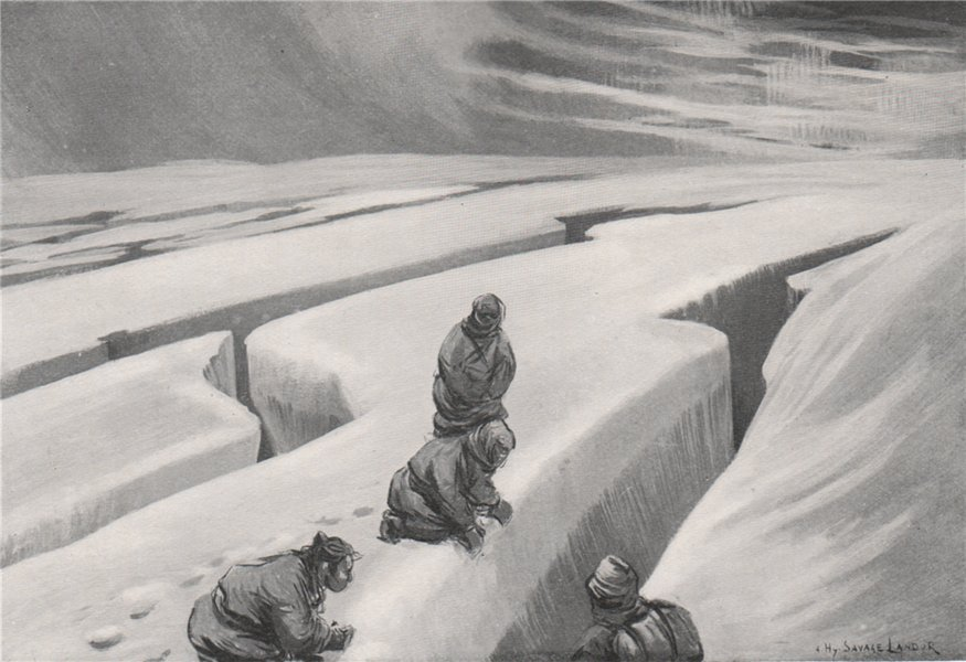 Associate Product 'Deep crevasses in the glacier ice' by Arnold Henry Savage Landor. Nepal 1905
