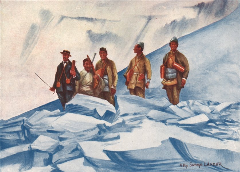 Associate Product Arnold Henry Savage Landor on his ascent to 23,490 feet. Nepal 1905 print