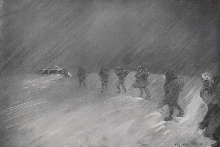 Associate Product 'Night marching in a storm' by Arnold Henry Savage Landor. Nepal 1905 print