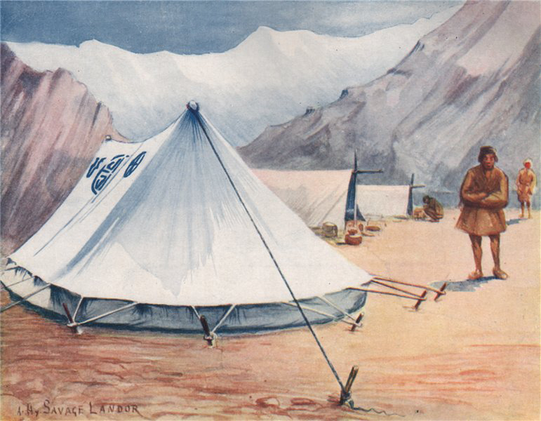 'Author's Tents, A camp in Nepal' by Arnold Henry Savage Landor. Nepal 1905