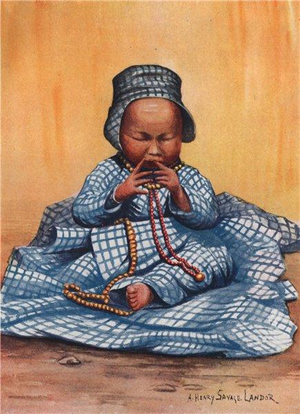 Associate Product 'Tibetan baby girl' by Arnold Henry Savage Landor. Tibet 1905 print