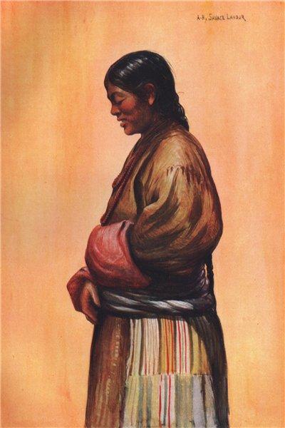 Associate Product 'Tibetan woman of the commoner class' by Arnold Henry Savage Landor. Tibet 1905
