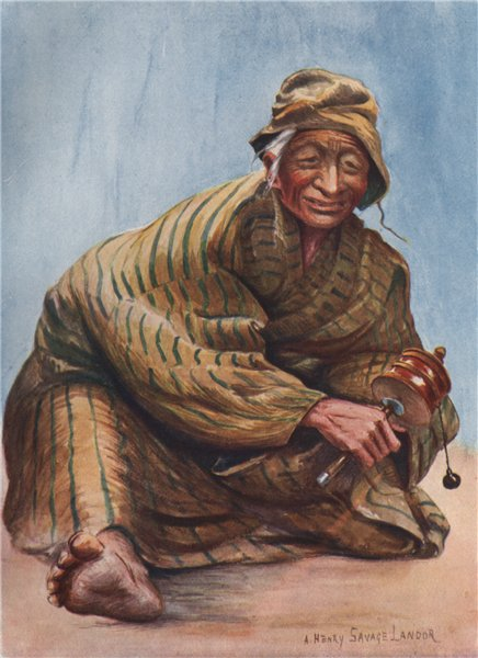 Associate Product 'An old lady and her prayer wheel' by Arnold Henry Savage Landor. Tibet 1905