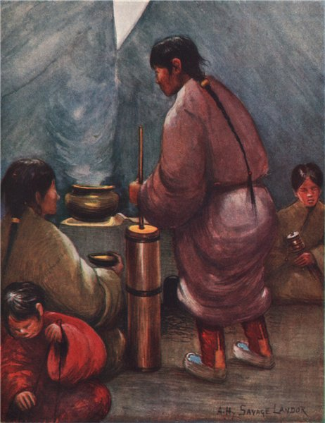 Associate Product Interior of a Tibetan tent; mixing tea with butter. A. Henry Savage Landor 1905