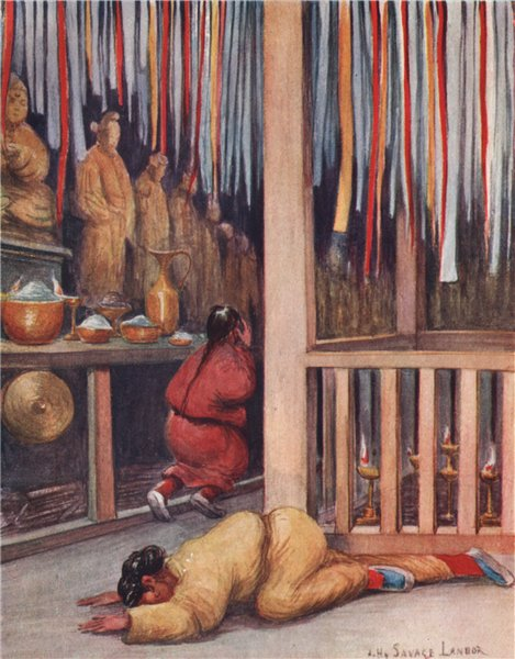 Associate Product 'Interior of a Tibetan temple' by Arnold Henry Savage Landor. Tibet 1905 print