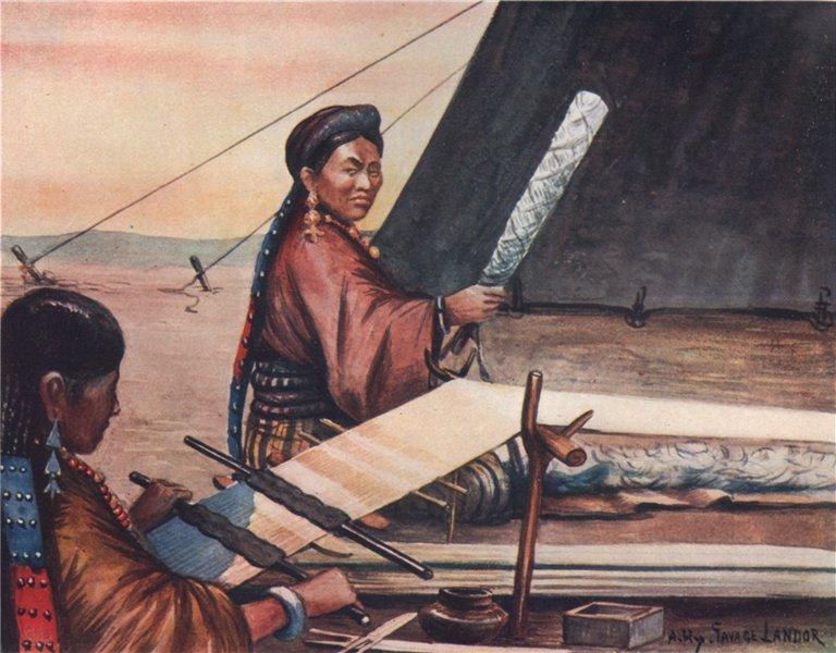 Associate Product 'Tibetan women weaving' by Arnold Henry Savage Landor. Tibet 1905 print