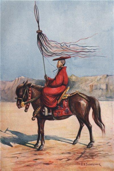 Associate Product 'A Lama standard-bearer' by Arnold Henry Savage Landor. Tibet 1905 print