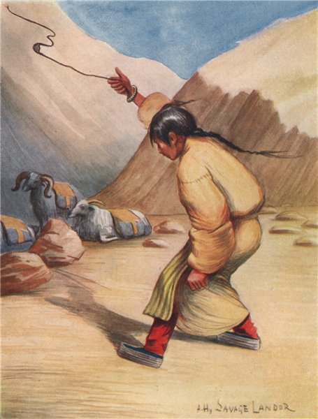 Associate Product 'Tibetan woman using a sling for throwing stones'. A. Henry Savage Landor 1905