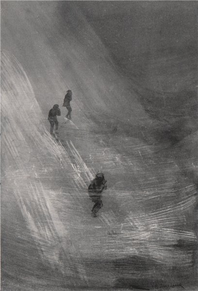 Associate Product Calling two followers lost in the storm. Arnold Henry Savage Landor. Tibet 1905