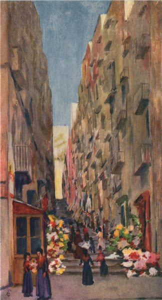 Associate Product 'The Gridone, leading up from the Via Chiaia'. Augustine Fitzgerald. Naples 1904