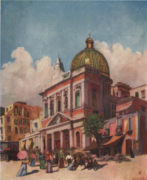Associate Product NAPOLI. 'Church of San Croce, Naples' by Augustine Fitzgerald. Naples 1904