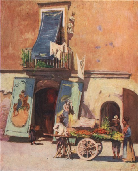 Associate Product NAPOLI. 'Street scene, The Marina, Naples' by Augustine Fitzgerald. Naples 1904