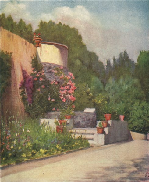 Associate Product NAPOLI. 'A terrace in the Villa Rosebery' by Augustine Fitzgerald. Naples 1904