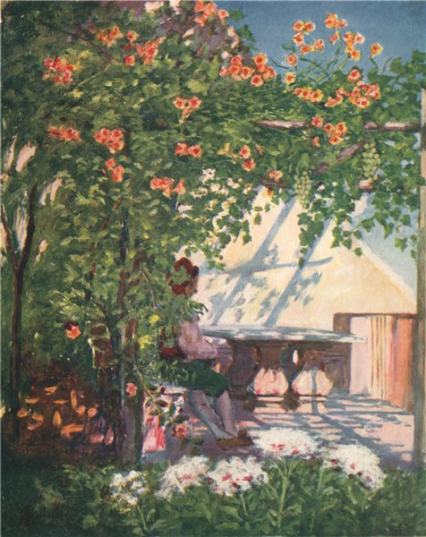 Associate Product SORRENTO. 'A garden terrace, Sorrento' by Augustine Fitzgerald. Italy 1904