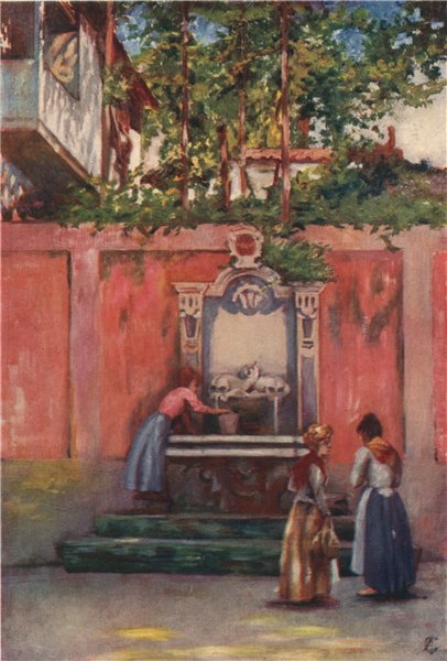 Associate Product SORRENTO. 'Fountain in Sorrento' by Augustine Fitzgerald. Italy 1904 old print
