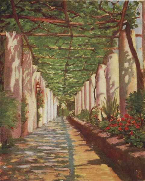 Associate Product 'Terrace of the Cappucini Hotel, Amalfi' by Augustine Fitzgerald. Italy 1904