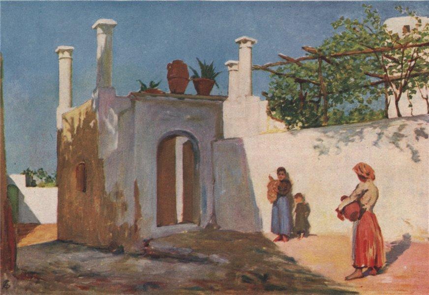 'Village road of Caprili, Capri' by Augustine Fitzgerald. Italy 1904 old print